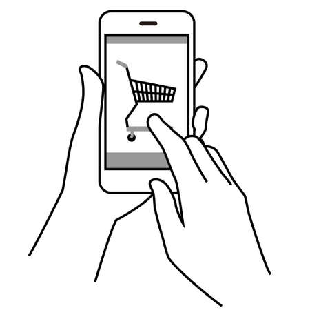 Illustration of operating a smartphone (online shopping)