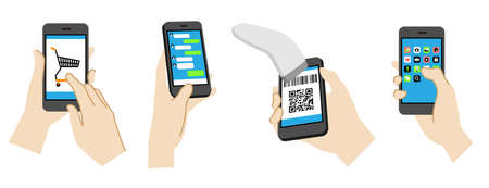 Set of illustrations operating a smartphone(Social media, online shopping, electronic payment)