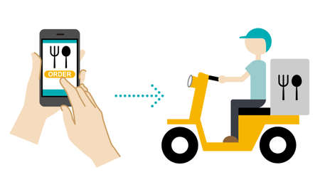Illustration of mobile order (what you ordered on your smartphone will arrive by delivery) Ilustración de vector