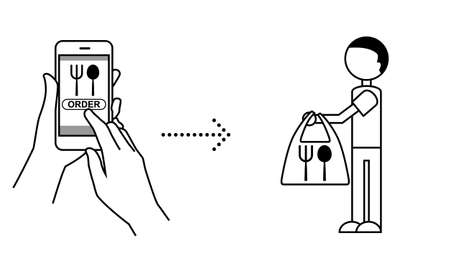 Illustration of mobile order (take away what you ordered on your smartphone) Ilustración de vector