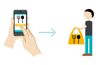 Illustration of mobile order (take away what you ordered on your smartphone)  イラスト・ベクター素材