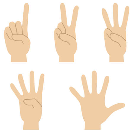 Set of illustrations of hand signs expressing the numbers 1 to 5