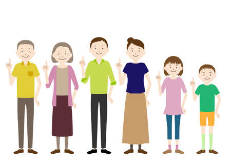 Illustration of a three generation family (grandfather, grandmother, father, mother, girl, boy set) Pointing pose
