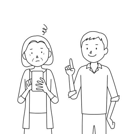 Illustration of a senior woman who asks her son to teach her how to use a smartphone (I don't know how to use it)
