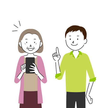 Illustration of a Senior Woman Who Asks Her Son to Teach Her How to Use a Smartphone (I Understand How to Use It!)