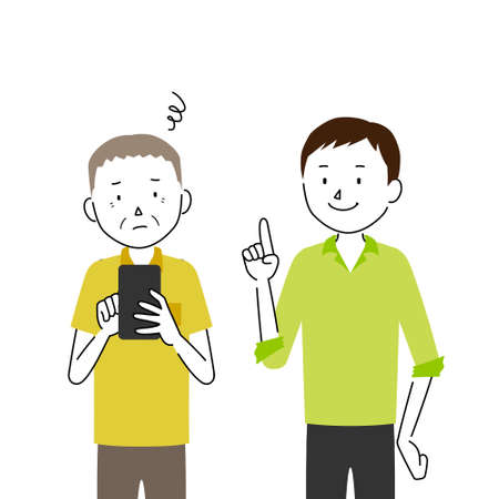 Illustration of a senior man who asks his son to teach him how to use a smartphone (I don't know how to use it)