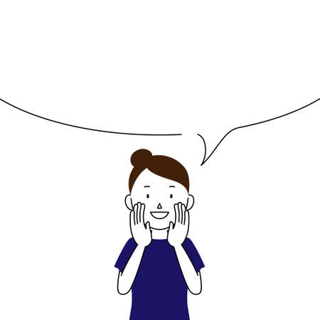 Illustration of a woman telling something in a loud voice (announcement, notice, advertisement)