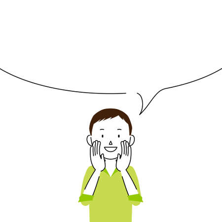 Illustration of a man telling something in a loud voice (announcement, notice, advertisement)