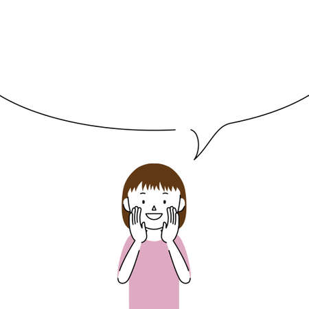 Illustration of a girl telling something in a loud voice (announcement, notice, advertisement)