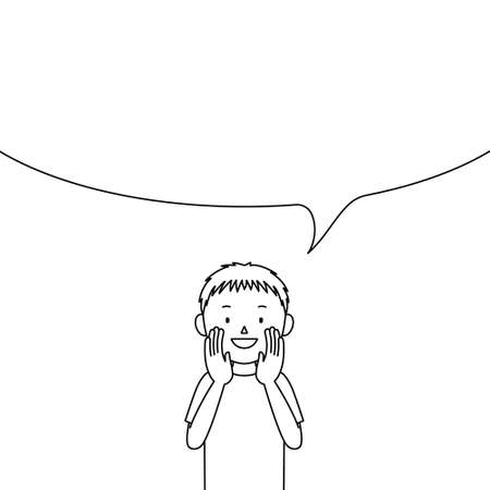Illustration of a boy telling something in a loud voice (announcement, notice, advertisement)