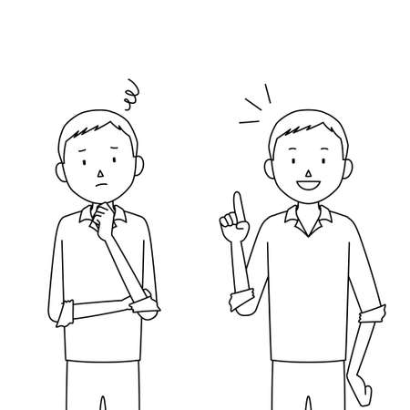 two pose set of male illustrations (worry / solution) Vectores