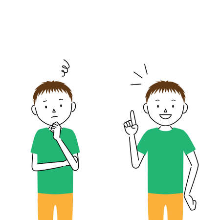 two pose set of boy's illustrations (worry / solution)