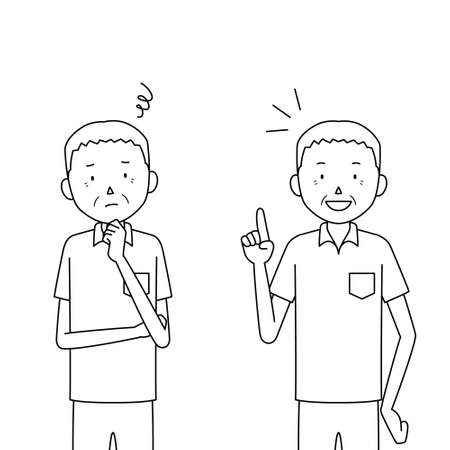 two pose set of a senior man illustrations (worry / solution)