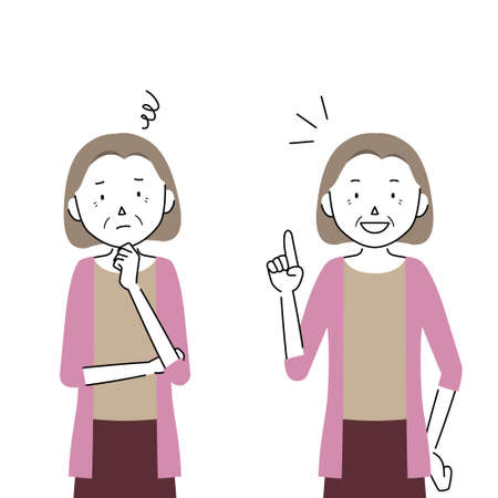 two pose set of a senior woman illustrations (worry / solution)