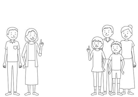 Illustration of a three generation family (grandfather, grandmother, father, mother, girl, boy set)