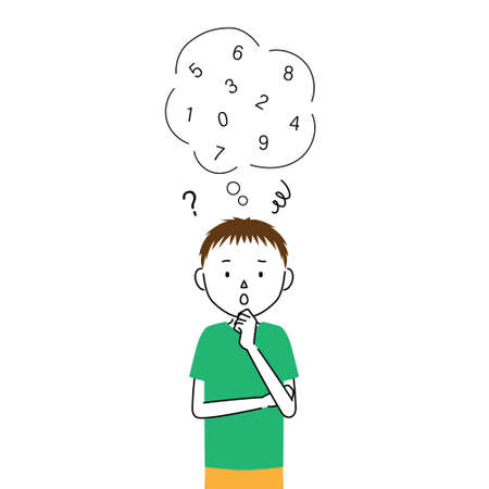 Illustration of a boy who is having trouble remembering his password(pin code, pass code)