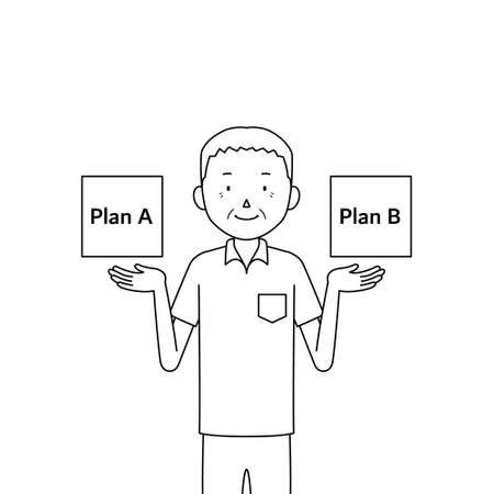 Illustration of a senior man comparing two plans (choices)