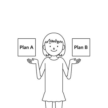 Illustration of a girl comparing two plans (choices)