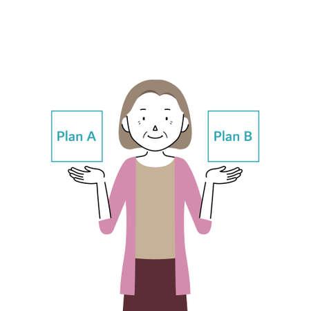 Illustration of a senior woman comparing two plans (choices) Ilustração