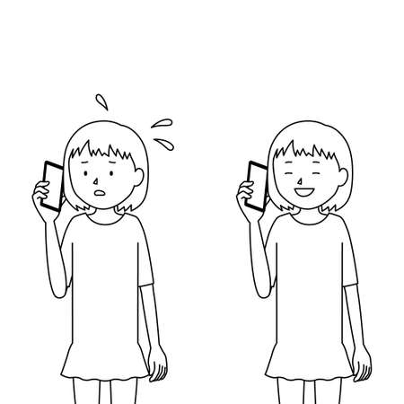 Illustration set of a girl talking on a smartphone (anxiety and relief)
