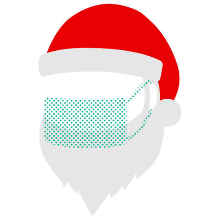 Illustration of the silhouette of Santa Claus wearing a medical mask (image of infection prevention) Ilustração