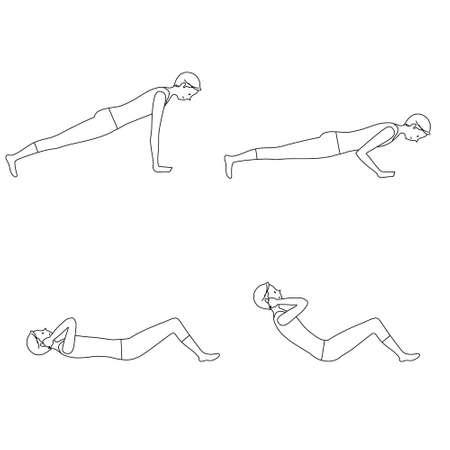 Illustration set of a man exercising (Push-ups, sit-ups)