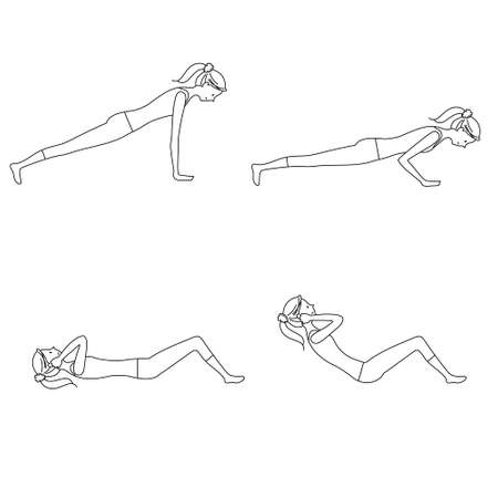 Illustration set of a woman exercising (Push-ups, sit-ups)