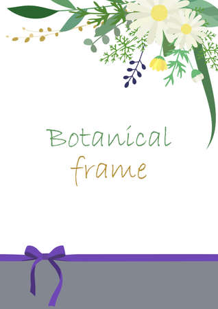 Illustration material of botanical frame with flowers and leaves (vector, white background, cut out)