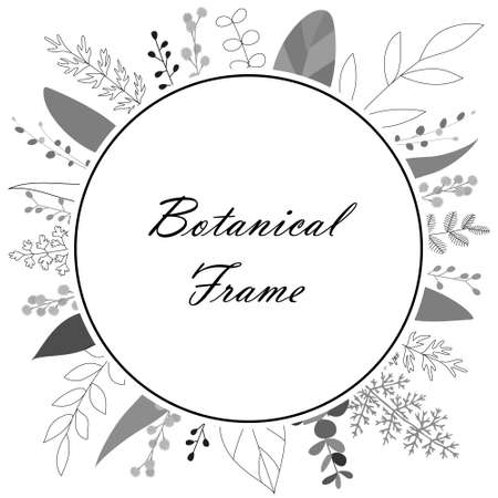 Illustration material of botanical frame with flowers and leaves (vector, white background, cutout) Vector Illustration