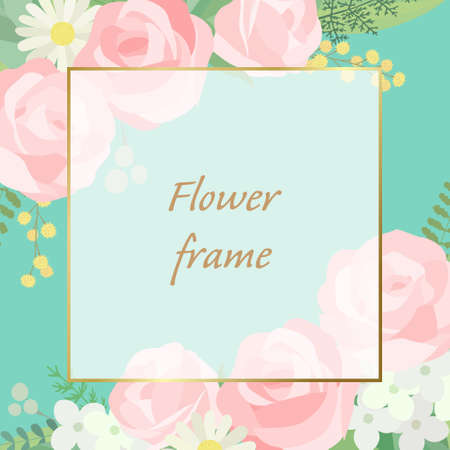 Rose frame illustration. Invitation or greeting card templates (vector, cut out)