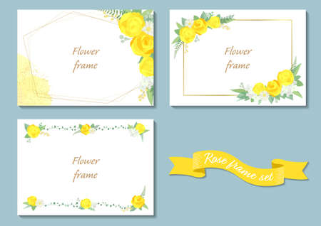 Rose frame illustration set. Invitation or greeting card templates (vector, cut out)