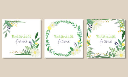Botanical frame illustration set. Invitation or greeting card templates (vector, cut out)