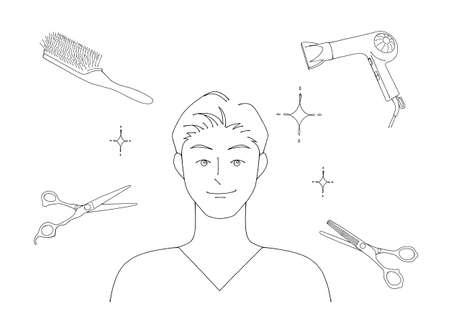 Illustration of a man who had his hair cut at a beauty salon