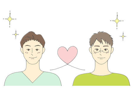 Illustration of a gay couple (white background, vector, cut out)