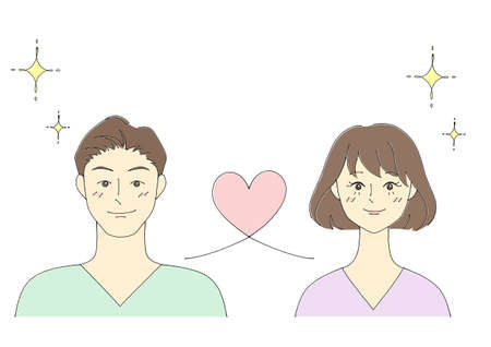 Illustration of a couple (white background, vector, cut out)