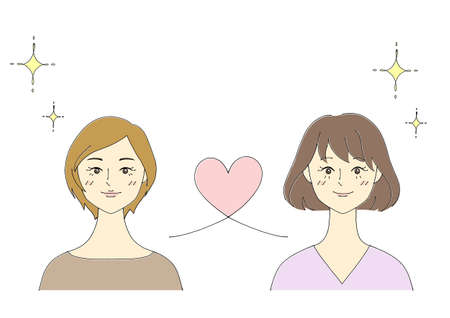 Illustration of a lesbian couple (white background, vector, cut out)