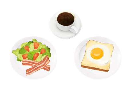 Breakfast illustration of coffee, bread and salad (white background, vector, cut out)