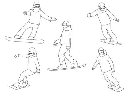Illustration set of snowboarder (white background, vector, cut out)