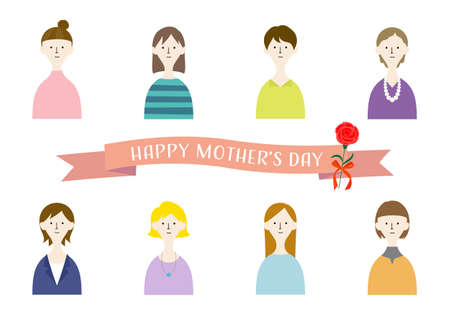 Mother's Day / Illustration set of women (white background / vector / cut out)