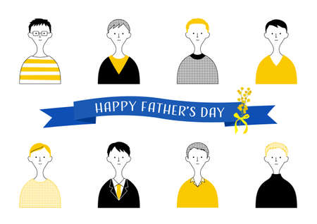 Father's Day / Illustration set of men (white background / vector / cut out)