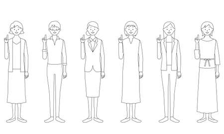 Illustration set of a woman pointing her finger with a smile (white background, vector, cut out)