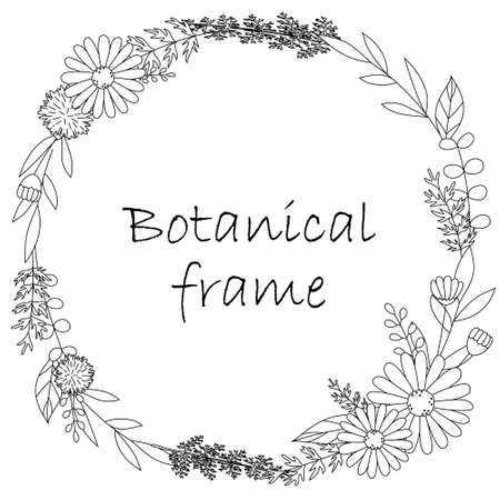 Botanical frame illustration. Invitation or greeting card templates (white background, vector, cut out) Vettoriali