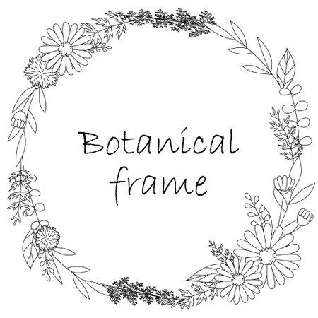 Botanical frame illustration. Invitation or greeting card templates (white background, vector, cut out) Vektoros illusztráció