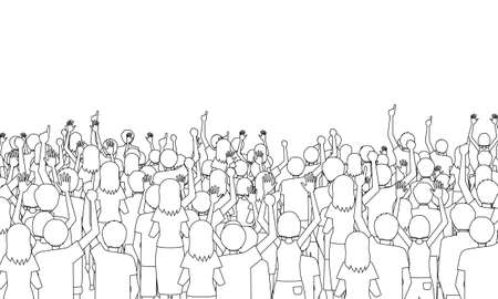 Illustration of the back of many spectators (white background, vector, Line art, cut out)