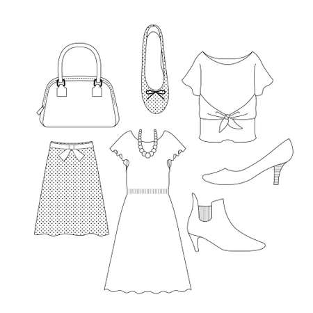 Illustration set of dresses and shoes (ladies' fashion accessories) (white background, vector, Line art, cut out)