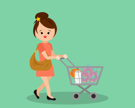 housewife shopping Illustration