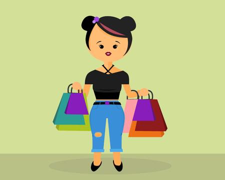 trendy cool girl on shopping spree Ilustração