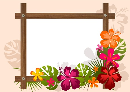 Decorative banner in tropical style with wooden frame and exotic plants  photo