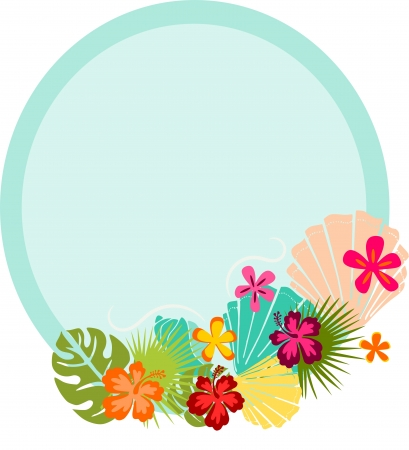 Oval web banner or frame with decorative exotic flowers and seashells in cartoon style  photo