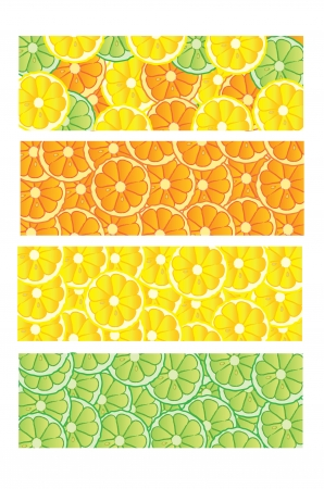 Different colorfull lime, lemon and orange banners photo